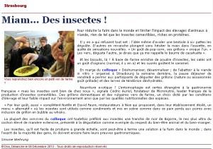 Article des DNA du 08 Décembre 2013 : Miam ... Des insectes !